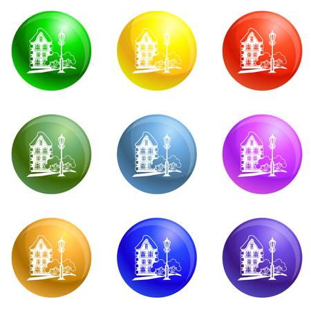 Old house icons vector 9 color set isolated on white background for any web design