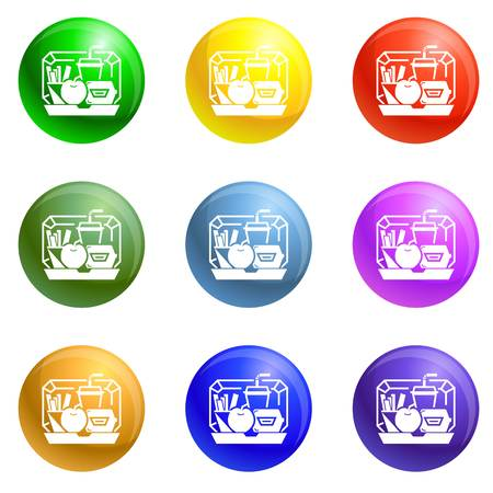 Mix lunchbox icons vector 9 color set isolated on white background for any web design