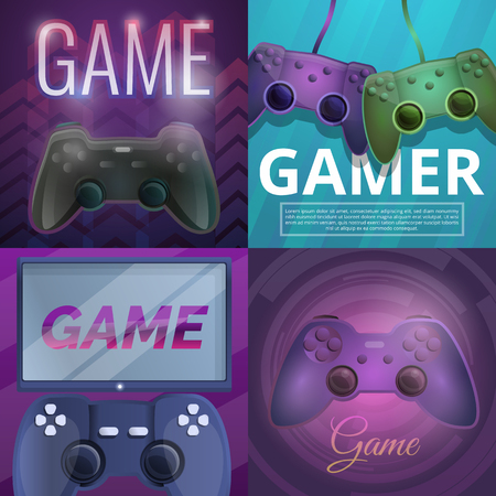 Joystick game banner set. Cartoon illustration of joystick game vector banner set for web design