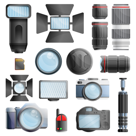 Photographer equipment icons set. Cartoon set of photographer equipment vector icons for web design
