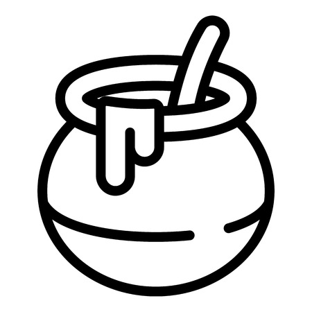 Open honey pot icon. Outline open honey pot vector icon for web design isolated on white background
