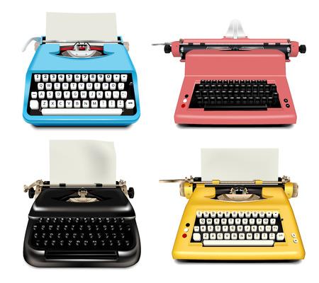 Conjunto de iconos de máquina de escribir. Conjunto realista de iconos de vector de máquina de escribir para diseño web aislado sobre fondo blanco