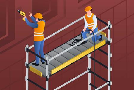 Constructors on scaffold banner. Isometric illustration of constructors on scaffold vector banner for web design Ilustracja