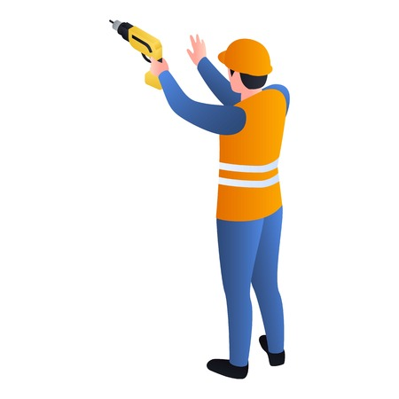 Worker with drill icon. Isometric of worker with drill vector icon for web design isolated on white background