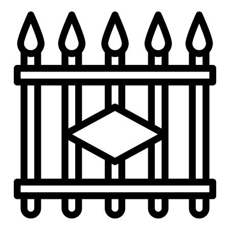 Metal fence icon. Outline metal fence vector icon for web design isolated on white background