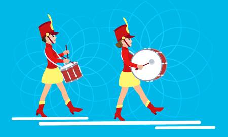 Woman drummers concept banner. Flat illustration of woman drummers vector concept banner for web design