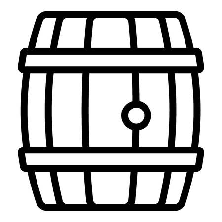 Wood whiskey barrel icon. Outline wood whiskey barrel vector icon for web design isolated on white background Illustration
