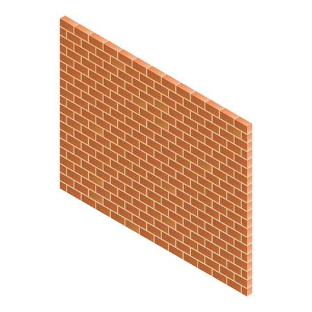 Brick wall icon. Isometric of brick wall vector icon for web design isolated on white background Illustration