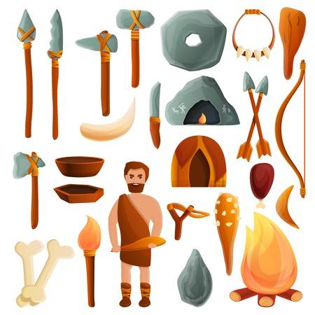 Set di icone dell'età della pietra. Insieme del fumetto delle icone di vettore dell'età della pietra per il web design
