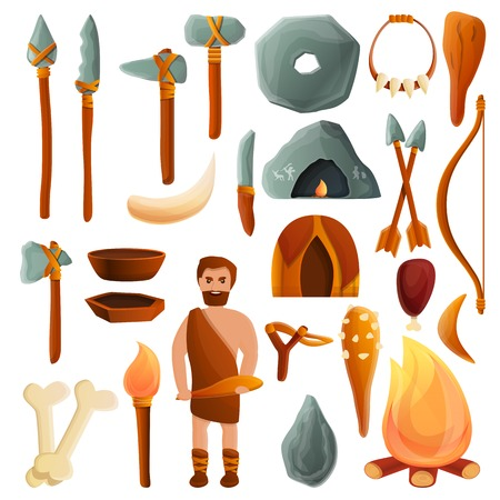 Stone age icons set. Cartoon set of stone age vector icons for web design