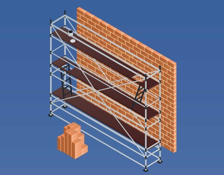 Scaffold brick wall banner. Isometric illustration of scaffold brick wall vector banner for web design