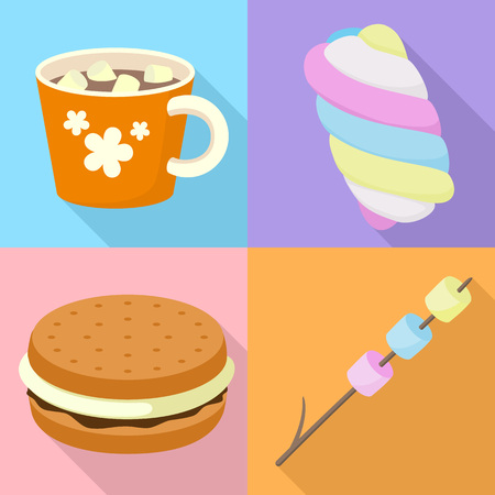 Marshmallow icons set. Flat set of marshmallow vector icons for web design