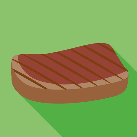 Grilled steak icon. Flat illustration of grilled steak vector icon for web design