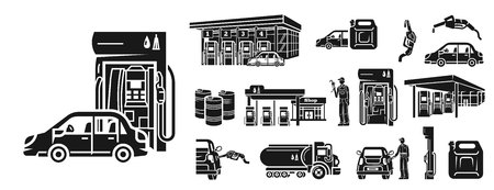 Petrol station icons set. Simple set of petrol station vector icons for web design on white background Ilustrace