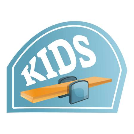 Kids wood seesaw logo. Cartoon of kids wood seesaw vector logo for web design isolated on white background Stock Vector - 120087257