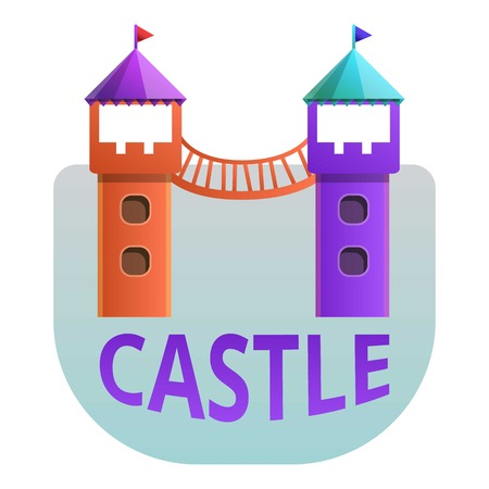 Castle playground towers logo. Cartoon of castle playground towers vector logo for web design isolated on white background