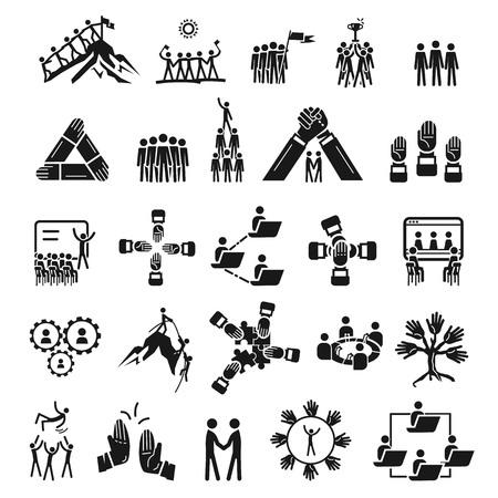 Kohäsionssymbole gesetzt. Einfacher Satz von Kohäsionsvektorsymbolen für Webdesign auf weißem Hintergrund