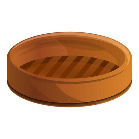 Wood steamer icon. Cartoon of wood steamer vector icon for web design isolated on white background