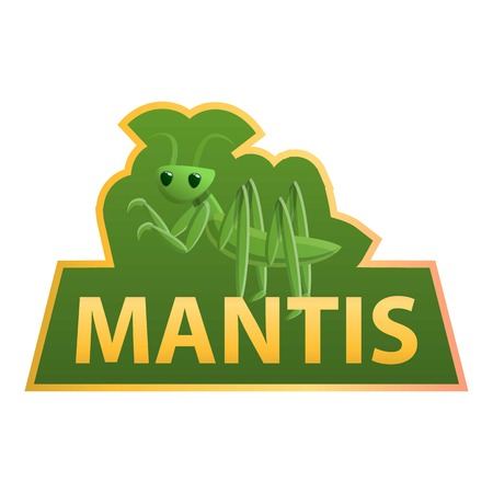 Green mantis logo. Cartoon of green mantis vector logo for web design isolated on white background