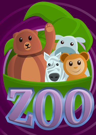 Tropical zoo concept banner. Cartoon illustration of tropical zoo vector concept banner for web design