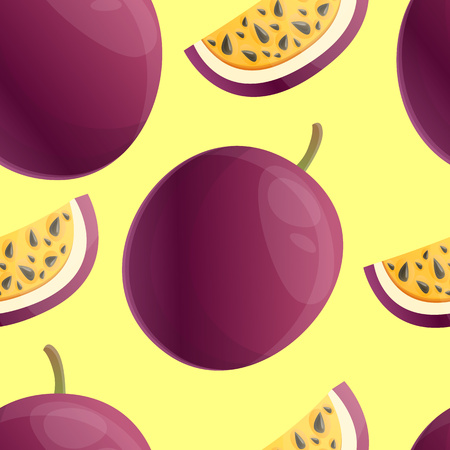 Exotic maracuja pattern. Cartoon illustration of exotic maracuja vector pattern for web design
