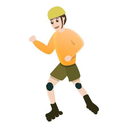 Dynamic kid move inline skates icon. Cartoon of dynamic kid move inline skates vector icon for web design isolated on white background Illustration