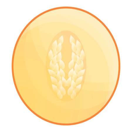 Half of melon icon. Cartoon of half of melon vector icon for web design isolated on white background Vetores
