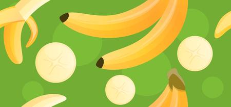 Tasty banana pattern. Cartoon illustration of tasty banana vector pattern for web design