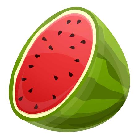 Half fresh watermelon icon. Cartoon of half fresh watermelon vector icon for web design isolated on white background