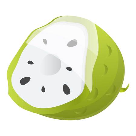 Cutted soursop icon. Cartoon of cutted soursop vector icon for web design isolated on white background Illustration