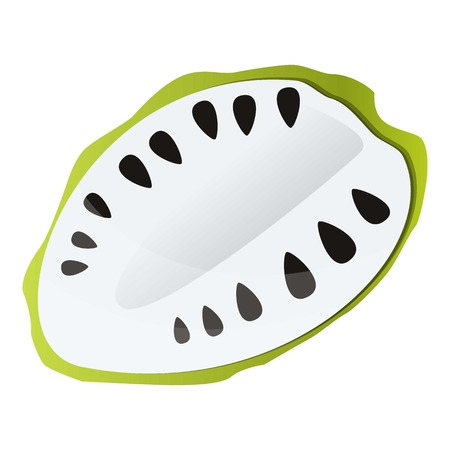 Tasty half soursop icon. Cartoon of tasty half soursop vector icon for web design isolated on white background Illustration