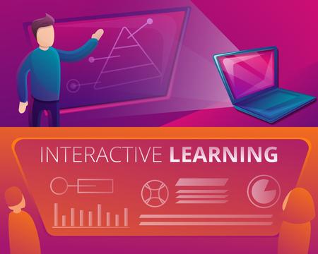 Ensemble de bannières d'apprentissage interactif. Bande dessinée illustration d'un ensemble de bannières vectorielles d'apprentissage interactif pour la conception de sites Web