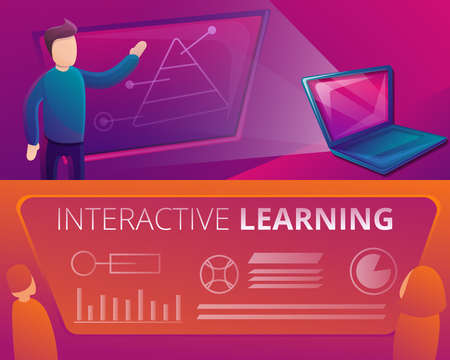 Interactive learning banner set. Cartoon illustration of interactive learning vector banner set for web design