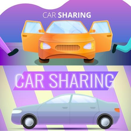 Car sharing banner set. Cartoon illustration of car sharing vector banner set for web design Illustration