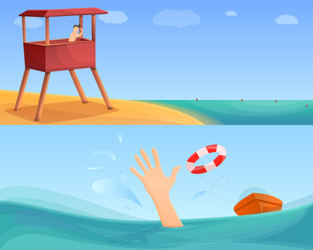 Sea safety banner set. Cartoon illustration of sea safety vector banner set for web design Illustration