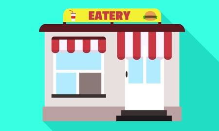 Street eatery icon. Flat illustration of street eatery vector icon for web design