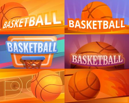 Basketball banner set. Cartoon illustration of basketball vector banner set for web design