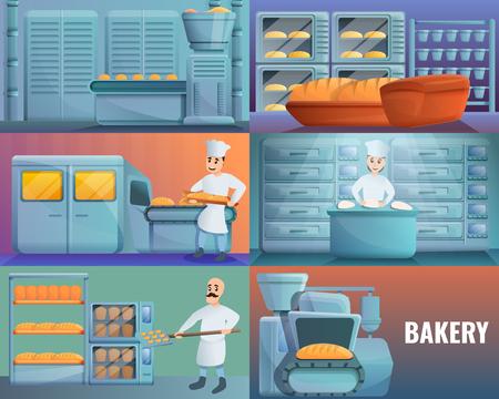 Modern bakery factory banner set. Cartoon illustration of modern bakery factory vector banner set for web design