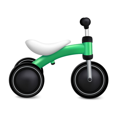 Child tricycle icon. Realistic illustration of child tricycle vector icon for web design isolated on white background