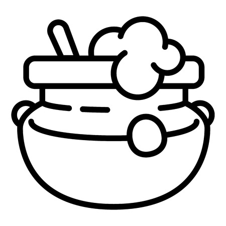 Pot of porridge icon. Outline pot of porridge vector icon for web design isolated on white background Ilustracja