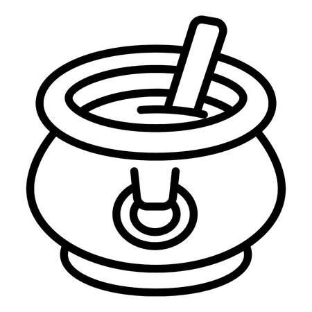 Cauldron with soup icon. Outline cauldron with soup vector icon for web design isolated on white background