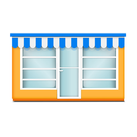 Street glass shop icon. Realistic illustration of street glass shop vector icon for web design isolated on white background  イラスト・ベクター素材