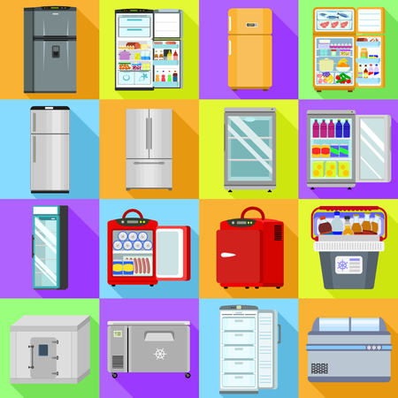 Freezer icons set. Flat set of freezer vector icons for web design Vecteurs