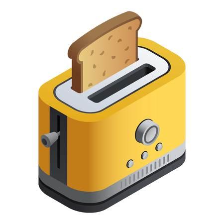 Geel broodrooster icoon. Isometrisch van geel broodrooster vector pictogram voor webdesign geïsoleerd op een witte achtergrond