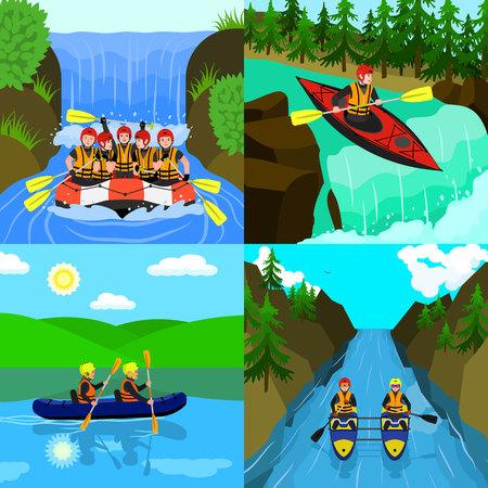 Rafting banner set. Flat illustration of rafting vector banner set for web design