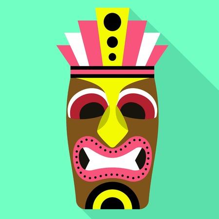 Ancient tiki idol icon. Flat illustration of ancient tiki idol vector icon for web design