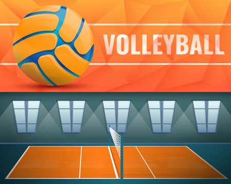 Volleyball banner set. Cartoon illustration of volleyball vector banner set for web design Illustration