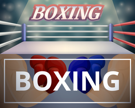 Boxing ring banner set. Cartoon illustration of boxing ring vector banner set for web design Illustration