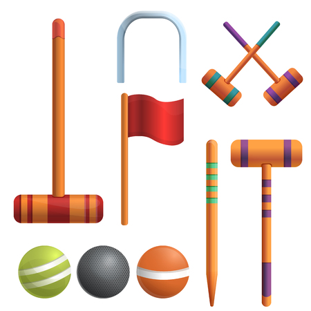 Croquet icons set. Cartoon set of croquet vector icons for web design