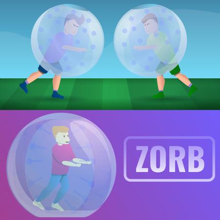 Conjunto de banners de Zorb. Ilustración de dibujos animados de banner de vector de zorb para diseño web Ilustración de vector